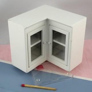Mueble alto ángulo cocina miniatura casa muñeca,