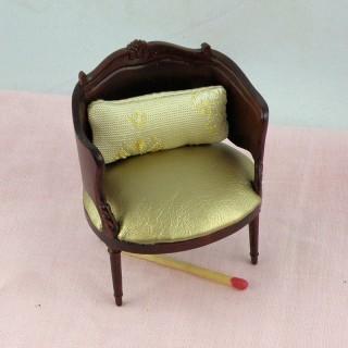 Fauteuil miniature bois et cuir maison de poupée
