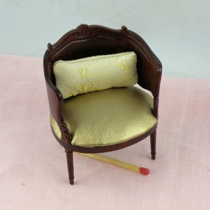 Miniature armchair wood and leather doll's house