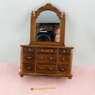 Commode Coiffeuse meuble miniature maison poupée.