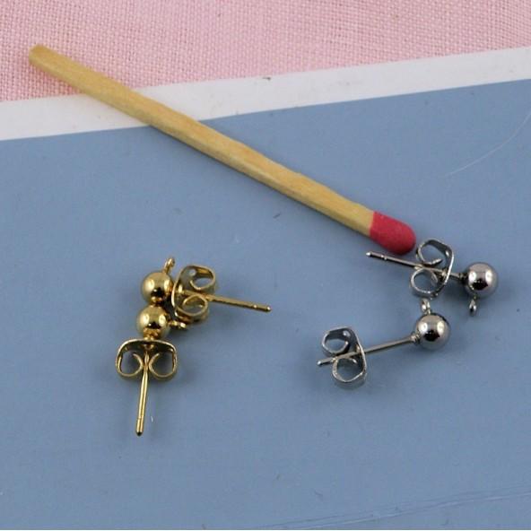 Boucles oreilles clou à boule avec anneau, 1,5 cm.