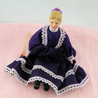 Muñeca miniatura 1/12 mujer negra 14 cm