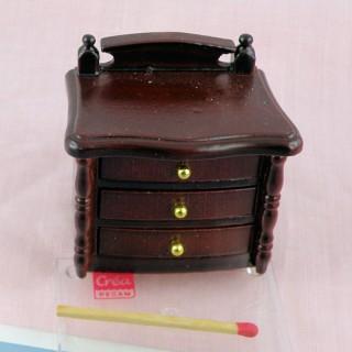 Table de nuit chevet miniature en bois