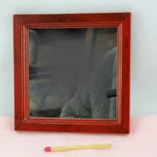 Spiegel Miniaturholz Puppenhaus 9 cm.