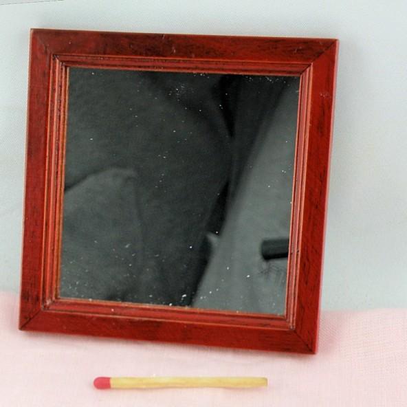 Miroir bois miniature maison poupée 9 cm.
