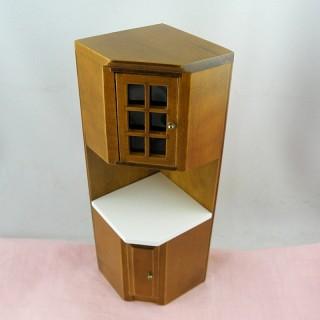 Mueble de ángulo cocina miniatura casa muñeca