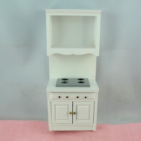 Meuble cuisson miniature maison poupée 18 cm.