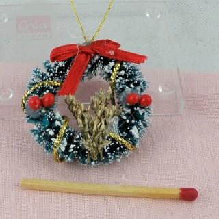 Doll house miniature Sisal Chritmas wreath, t 3 cm