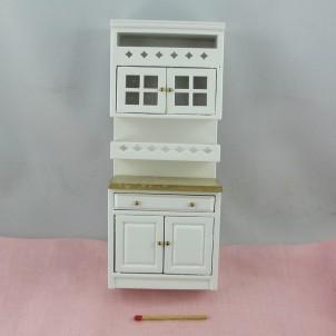 Meuble cuisine miniature maison poupée 18 cm.
