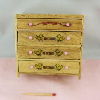 Commode miniature enfant bois peint 4 tiroirs, 9 cm