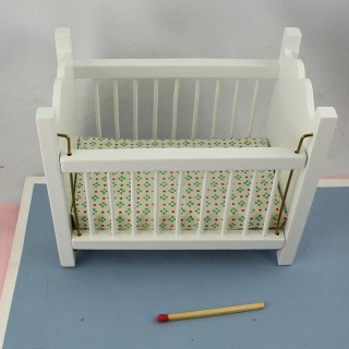 Baby bed miniature dollhouse  9 cms.