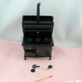Wood-burning stove dollhouse kitchen 1/12