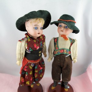 Par Muñecas porcelana antiguas 21 cm