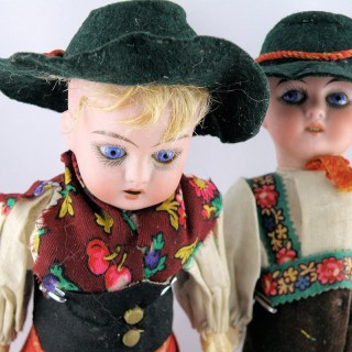 Couple Poupées porcelaine anciennes 21 cm