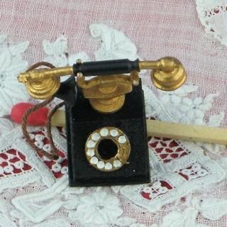 Téléphone miniature noir antique miniature maison poupée 2 cm.