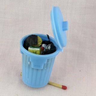 Cubo de basura miniatura con bolsa 5 cm.