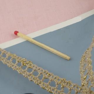 Dentelle passe-lacet coton et or entre-deux 14 mm