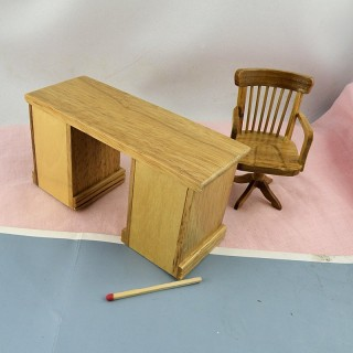 Miniature dollhouse furniture library ensemble