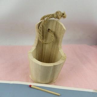 Cubo miniatura muñeca madera bruta 9 cm