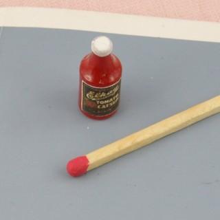 Frasco de salsa Ketchup miniatura casa muñeca