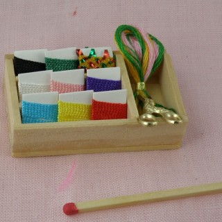 Small sewing box for doll, miniature knitting set