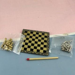 Echiquier miniature jeu d'échec maison poupée 5 cm