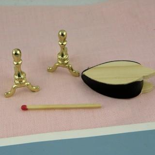 Utensilios en latón y fuelle para chimenea miniatura