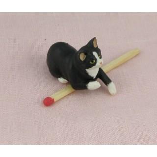 Chat noir miniature 3 cm