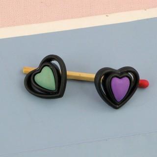 Botones a pie corazón  1 cm