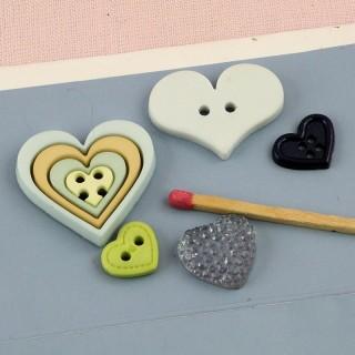 Lote de 5 Botones imaginación corazón