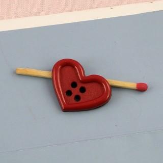 Bouton coeur géant rouge  2 cm
