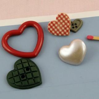 Lot de 5 Boutons fantaisie coeur