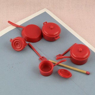 Doll miniature plastic casserole set Frying pan