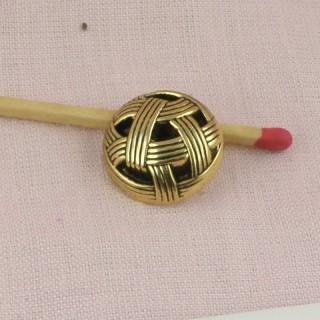 Botón alta costura a pie gotea y oro 3 cm,