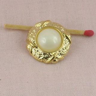 Bouton plastique boule perle 2 cm.