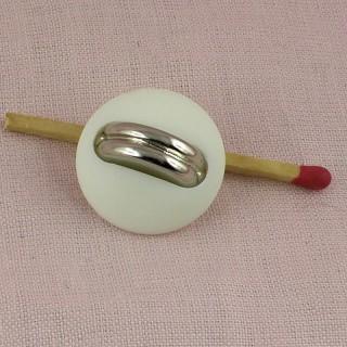 Bouton haute couture blanc & argent 2 cm