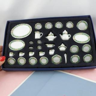 Service table 35 pièces porcelaine miniature maison poupée 1/12