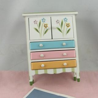 Commode miniature enfant bois peint 3 tiroirs 12 cm