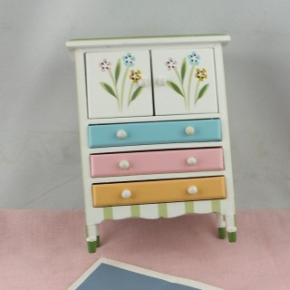 Miniature Chest 3 drawers painted, doll house bedroom