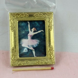 Miniature Ballet dancer picture in frame doll's house