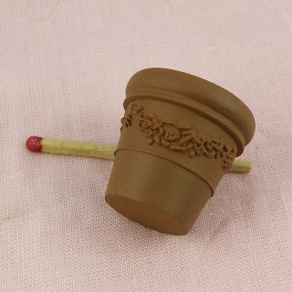 Flowers clay pots miniature for doll house 3 cm