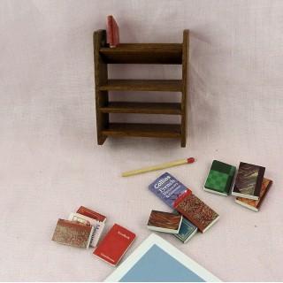 Bibliothèque miniature bois maison poupée 6 cm