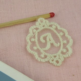 Embroidery Initial on tulle incrustation 4 cm