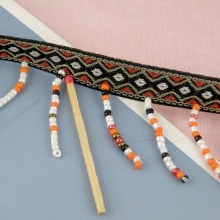 Galón bordado 14 mm. con perlas hinchadas pendientes