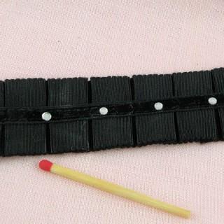 Galon gros-grain strass plis couchés 25 mm au mètre