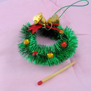 Doll house miniature Sisal Chritmas wreath 6 cm