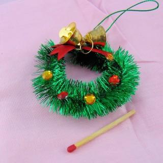 Doll house miniature Sisal Chritmas wreath 6 cm