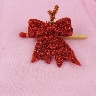 Chritmas Glitter miniature red bow 3 cm