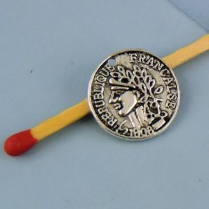 Breloque pièce de monnaie en métal 15 mm