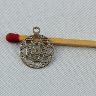 Breloque pendantif en métal ajouré 13 mm